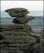 [ image: One of the Brimham Rocks]