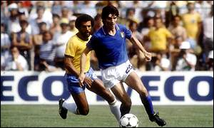 Paolo Rossi on his way to a World Cup hat trick against Brazil in 1982