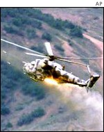 Helicopter gunships are used in the government attack