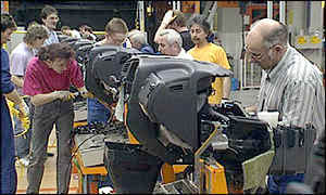 Workers in a German car factory