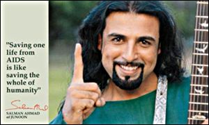 Guitarist <b>Salman Ahmed</b> of the Pakistani pop group Junoon is campaigning as a ... - _1402611_salmanahmed_un300