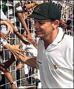 Adam Gilchrist meets the crowd in India