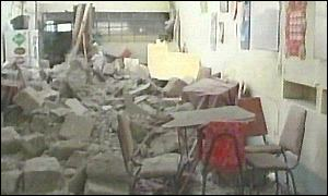 A classroom destroyed in the earthquake