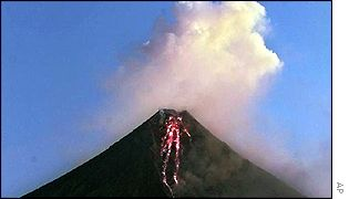 Mount Mayon volcano in central Philippines on Sunday