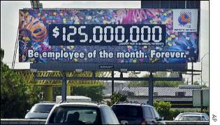 Billboard advertising the lottery prize