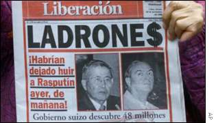 Peruvian newspaper shows pictures of former President Alberto Fujimori and ex-Intelligence chief Vladimir Montesinos