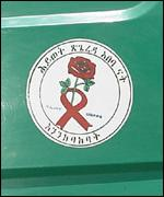 An Aids sticker on an Ethiopian truck reads 'Life is like a rose, look after it'
