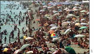 Crowded beach on French Riviera