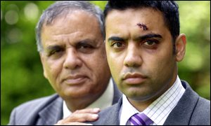 Burnley's deputy mayor, Rafiq Malik, with his son, Shahid