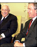Ariel Sharon and George Bush at the White House