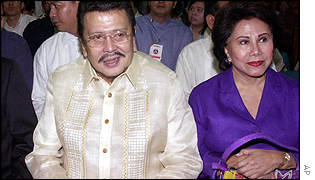 Estrada and wife Luisa in court