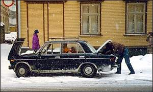 An AvtoVAZ Lada car breaks down in Moscow