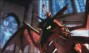Donkey (Eddie Murphy) balances on the head of the fire breathing dragon