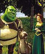 Shrek (Mike Myers), Donkey (Eddie Murphy) and Princess Fiona (Cameron Diaz) walk through the meadows