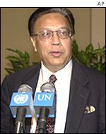UN Security Council President Anwarul Chowdhury of Bangladesh