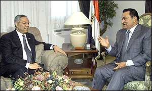 US Secretary of State Colin Powell, left, in a meeting with Egyptian President Hosni Mubarak