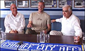 Cardiff manager Alan Cork, new signing Spencer Prior and club owner Sam Hammam