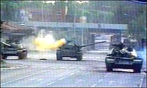 Yugoslav tanks fire shells on the streets of Slovenia in 1991