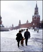 Family in snow in Red Square BBC