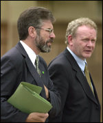 Sinn Fein president Gerry Adams and Martin McGuinness arrive for talks