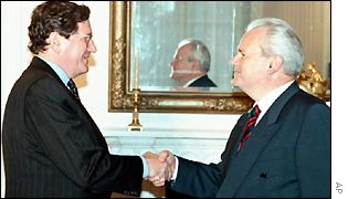 Richard Holbrooke of the US State Department and Slobodan Milosevic