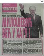 A Yugoslav daily showing Slobodan Milosevic