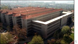 An aerial view of Belgrade central prison