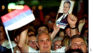 Supporters protesting against Mr Milosevic's hand-over