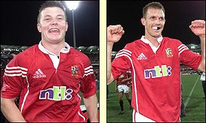 Try scorers Brian O'Driscoll and Dafydd James celebrate an historic win