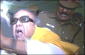 Karunanidhi's arrest was captured by this video taken by a family relative