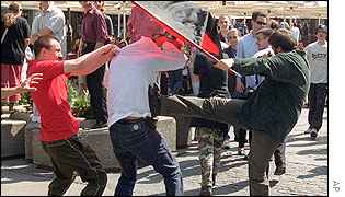 Attackers clash with a gay activist
