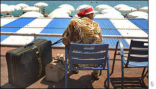 Holidaymaker on the promenade at Nice