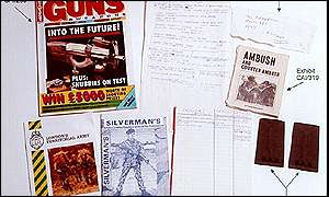 A police photo of magazine found at Barry George's flat