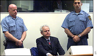 Former Yugoslav President Slobodan Milosevic appearing at the war crimes tribunal in The Hague