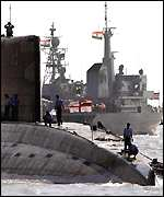 Indian Navy submarine and frigate
