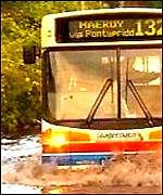 Bus in flood water