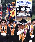 The Portadown Orange Lodge march at Drumcree
