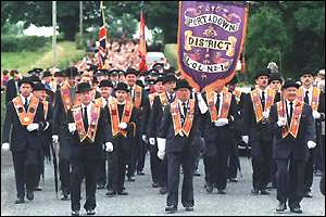 An Orange lodge marching in Northern Ireland
