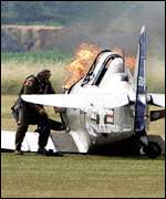 Harvard T6 plane which crashed on take off at RAF Duxford