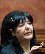 Mira Markovic attends a session in parliament