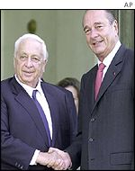 Ariel Sharon shakes hands with Jacques Chirac