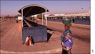 Deserted bus station during strike