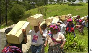Guatemalan Maya going to mass burial