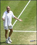 Andre Agassi was on the wrong end of a few close line calls
