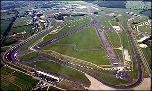 Aerial view of Silverstone circuit, Northamptonshire