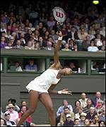 Venus Williams at full stretch in the final