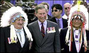Prince Charles meets Cree Indian chiefs in Canada