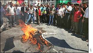Palestinians look on as effigy of Ariel Sharon burns in the West Bank town of Nablus