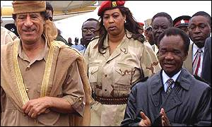 Colonel Gaddafi of Libya met by President Chiluba