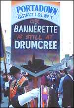 The Portadown Lodge raises its Drumcree protest bannerette